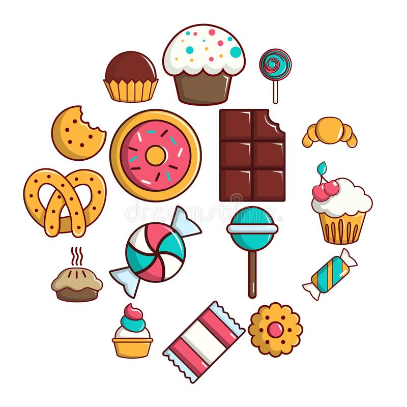 Sweets candy cakes icons set, cartoon style stock illustration