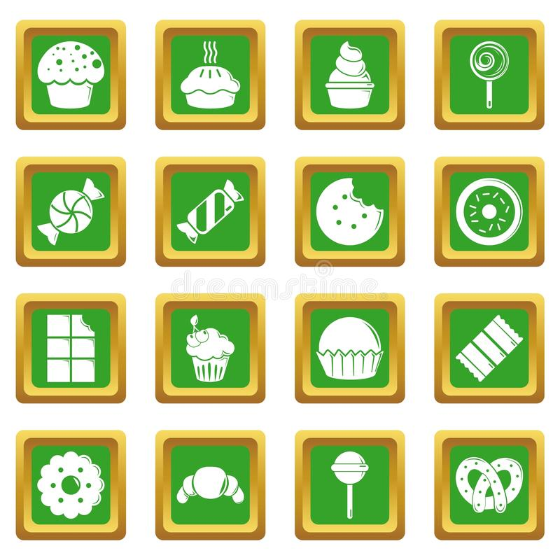 Sweets candy cakes icons set green square stock illustration