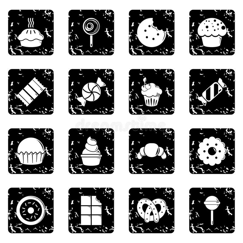 Sweets candy cakes icons set grunge vector royalty free illustration
