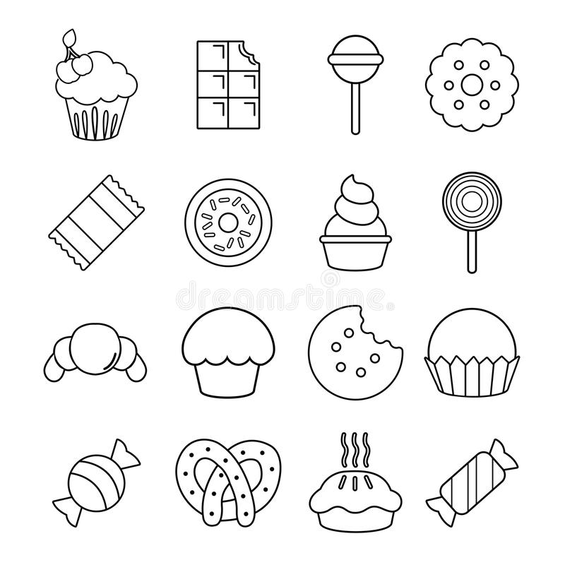 Sweets candy cakes icons set, outline style royalty free illustration