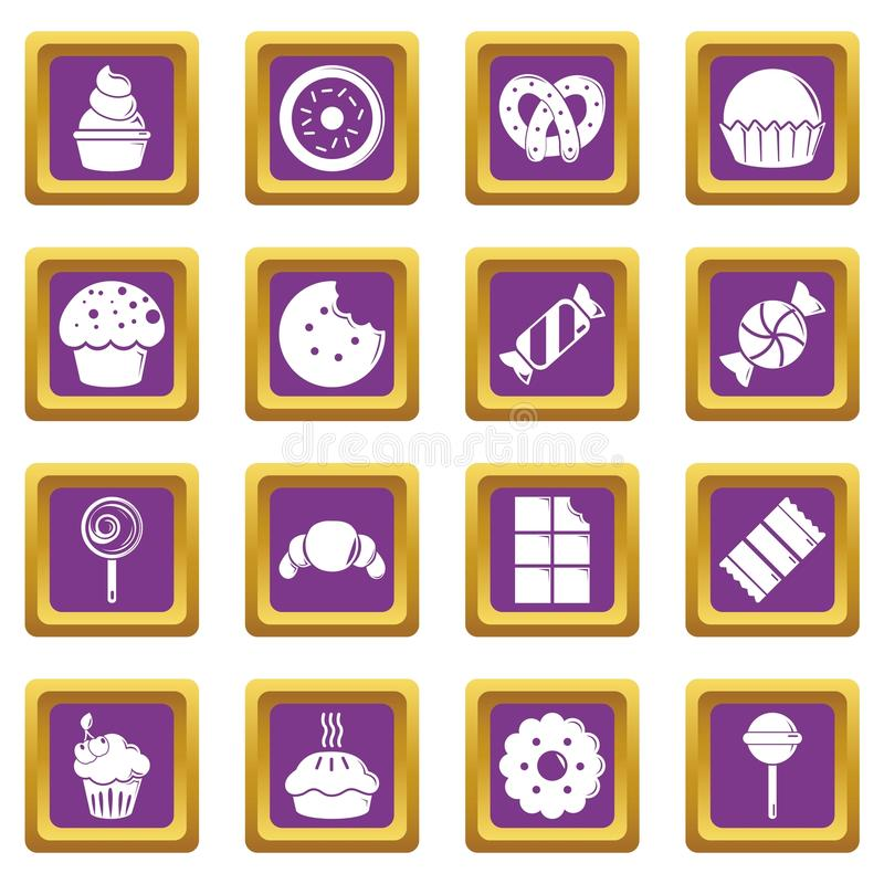 Sweets candy cakes icons set purple square vector stock illustration