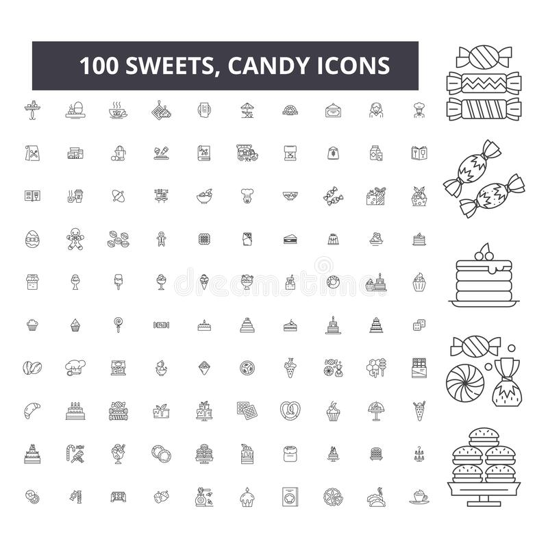 Sweets, candy editable line icons, 100 vector set, collection. Sweets, candy black outline illustrations, signs, symbols royalty free illustration