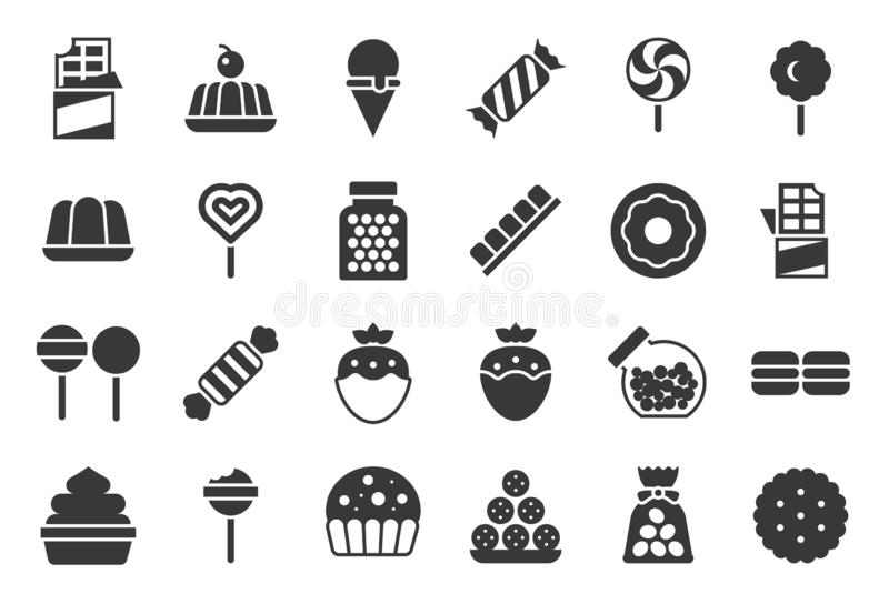 Sweets and candy icon set 1/2, solid design stock illustration