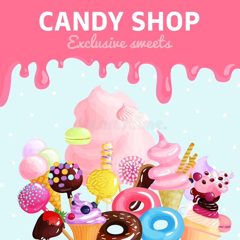 Sweets Candy Shop Poster royalty free illustration