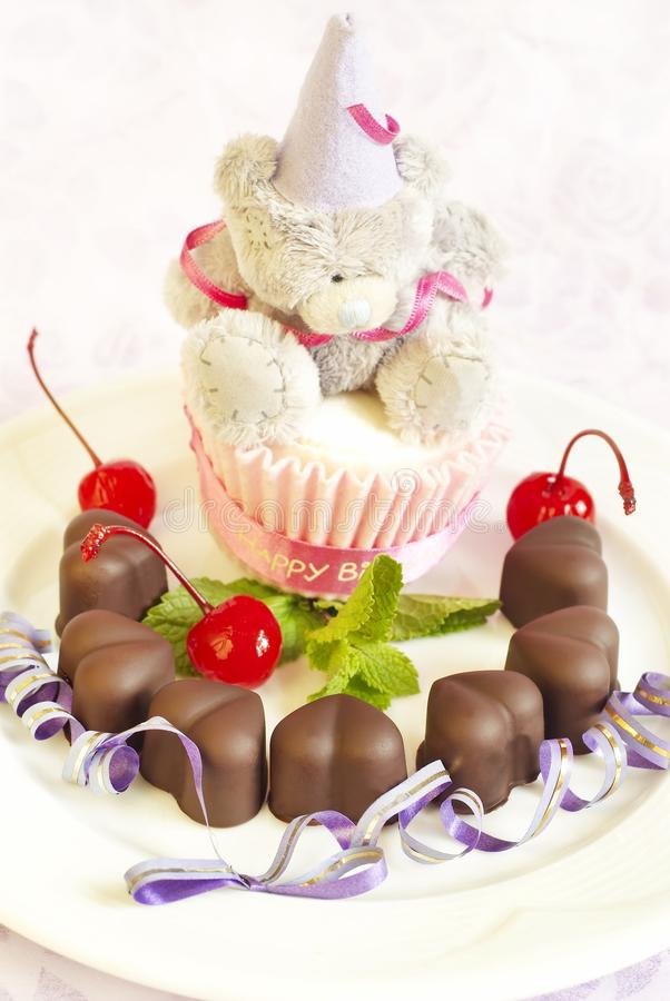 Sweets with cherry and chocolate. Tasty sweets with cherry and chocolate stock images