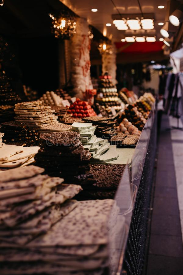 Sweets and chocolates at christmas market in Budapest, Hungary royalty free stock photos