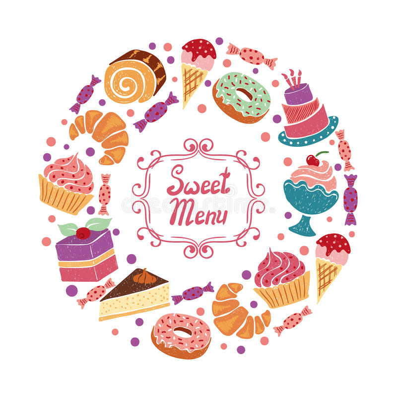 Sweets circle colorful background with cake, cupcake, bakery, donut, ice cream and candies. Vector dessert menu design royalty free illustration