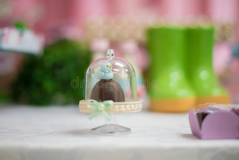 Sweets and decoration on the table - Children's birthday garden theme stock images