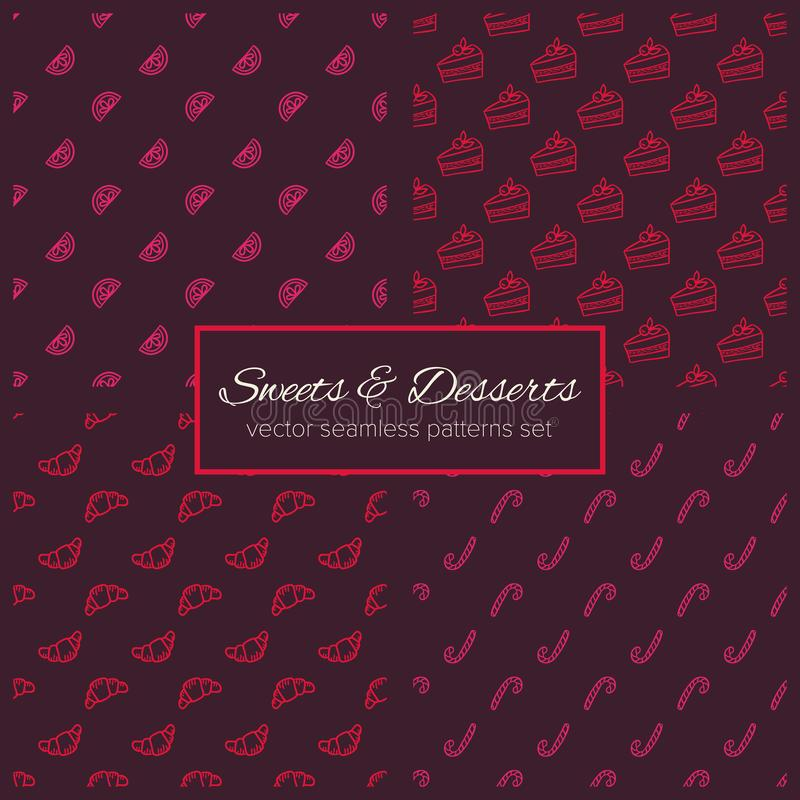 Sweets and desserts hand drawn seamless patterns set. Ð¡onfectionery doodle backgrounds. Collection of simple sketch textures for cozy food and drink design royalty free illustration