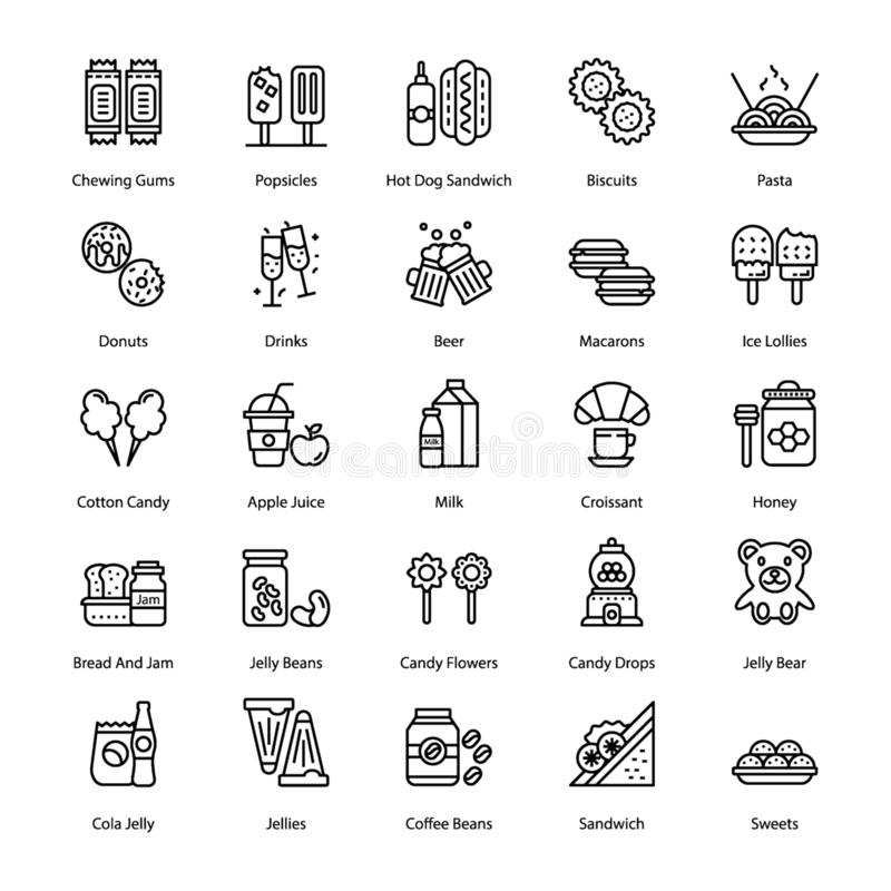 Sweets and Desserts Line Icons Set vector illustration