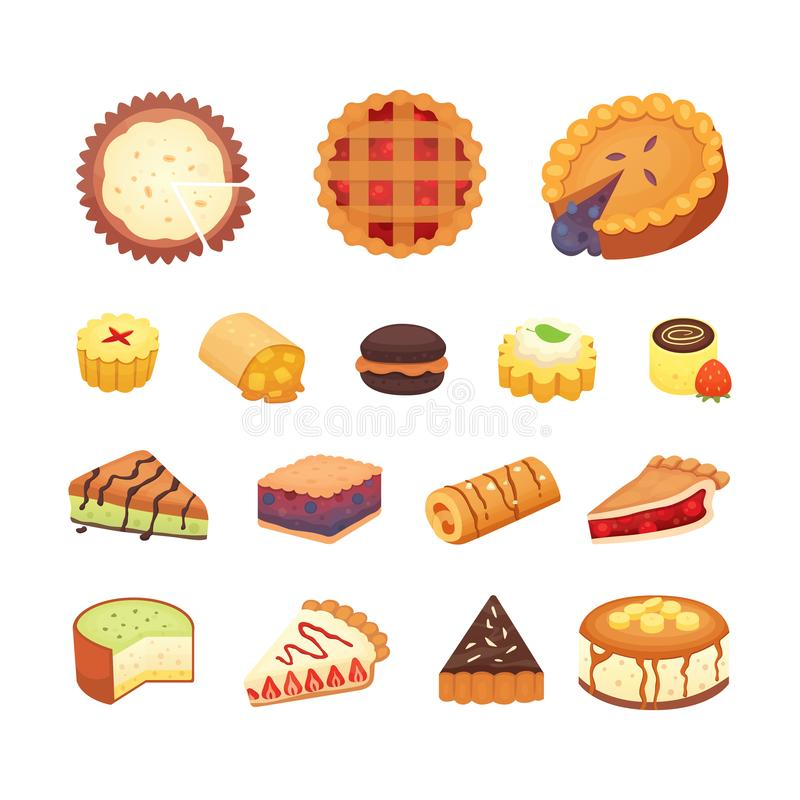Sweets desserts objects collection, strawberry cakes, fruit and berry sweet pies with cream. Homemade bakery cake. Dessert pie vector set vector illustration