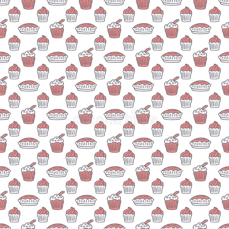 Sweets and desserts vector seamless pattern. Simple hand drawn doodle sketch texture. Simple sketch backgrouns for cozy food and drink design packages vector illustration