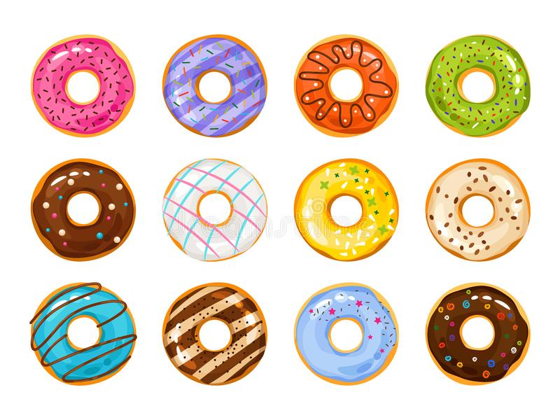 Sweets donuts sugar glazed. Vector fries pastry doughnut icons with holes isolated on white background. Dessert donut round illustration royalty free illustration