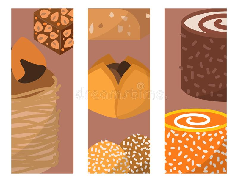 Sweets east delicious dessert food cards confectionery homemade assortment chocolate cake tasty bakery sweetness. Delights illustration. Delightful bake royalty free illustration