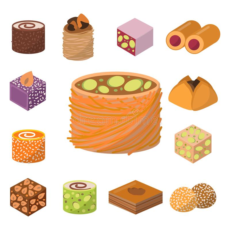 Sweets east delicious dessert food vector confectionery homemade assortment chocolate cake tasty bakery sweetness. Delights illustration. Delightful bake royalty free illustration