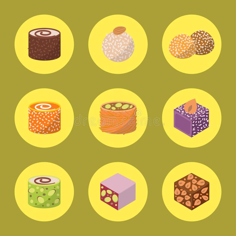 Sweets east delicious dessert food vector confectionery homemade assortment chocolate cake tasty bakery sweetness. Delights illustration. Delightful bake stock illustration