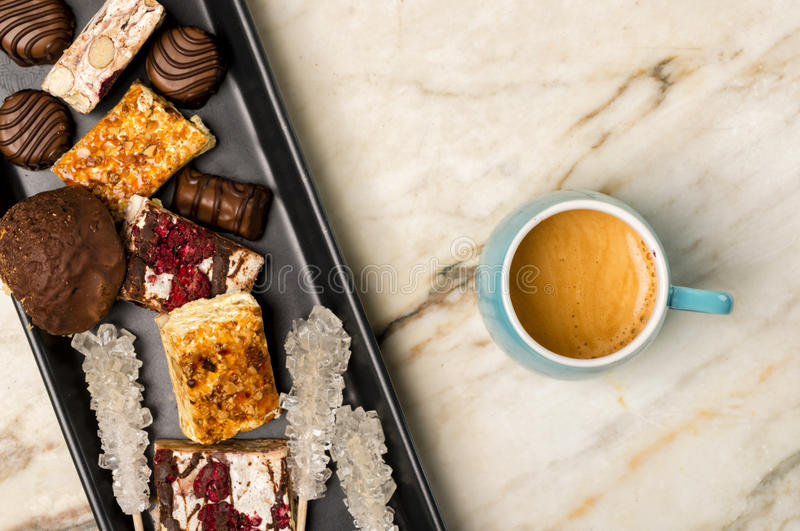 Sweets and espresso coffee royalty free stock image