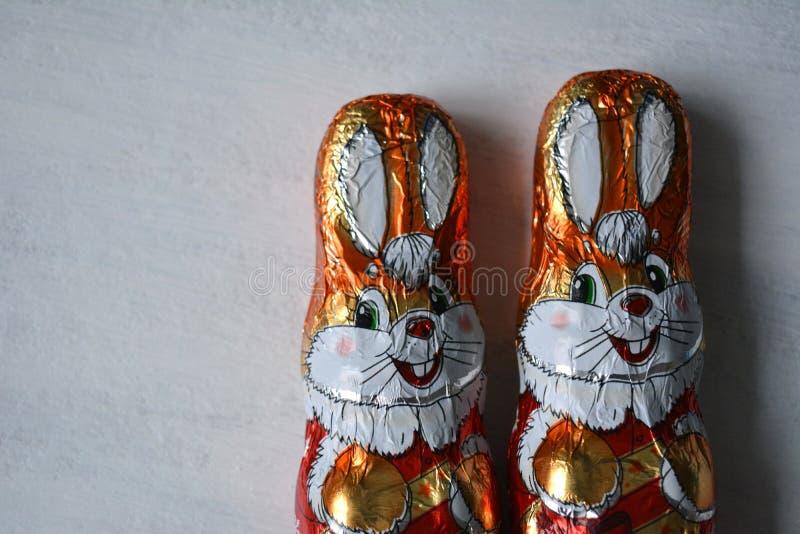 Sweets holiday chocolate decorative rabbits white background stock image