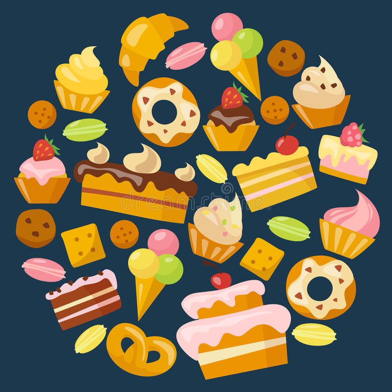Sweets icons set in flat style royalty free illustration