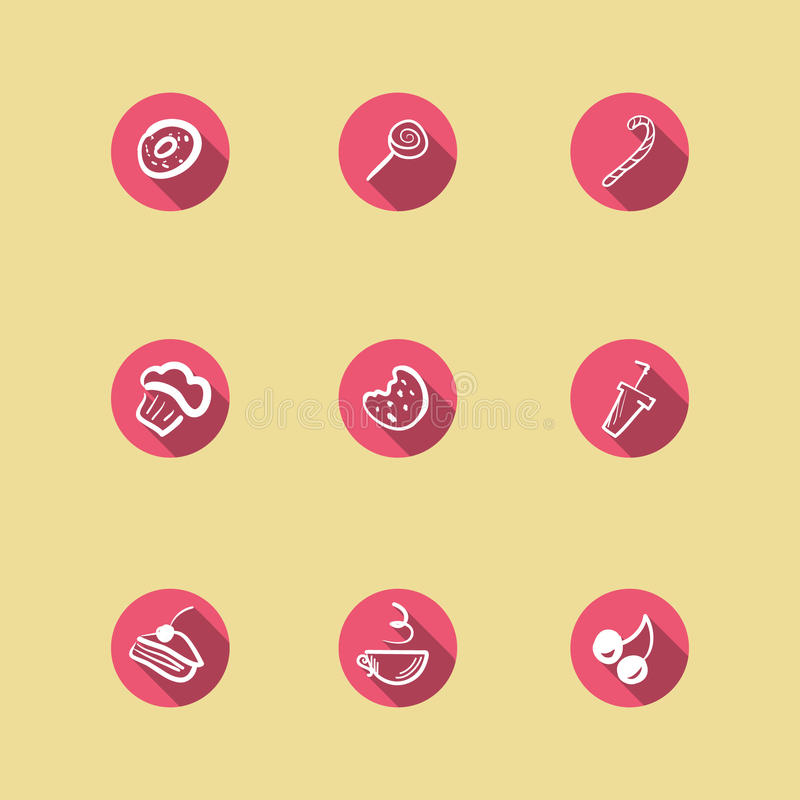 Sweets icons set. Vector flat hand drawn sweets icons set stock illustration