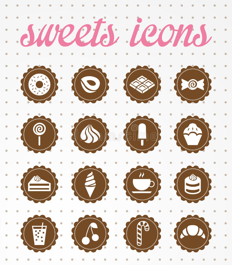 Sweets icons.vector icon set. vector illustration