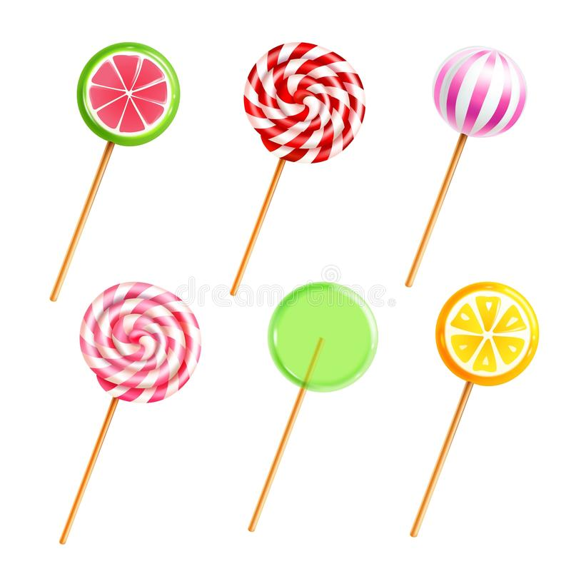 Sweets Lollipops Candies Realistic Icons Set. Colorful sweets lollipops and candies with different designs on sticks on white background realistic icons set vector illustration