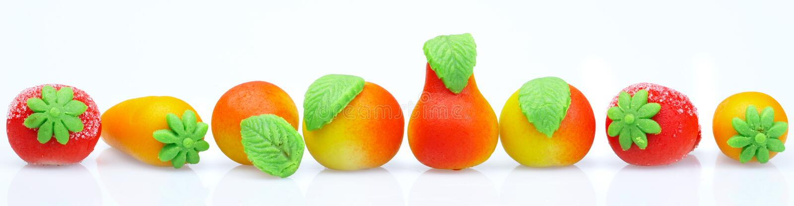 Sweets marzipan. In the form of fruit stock photos