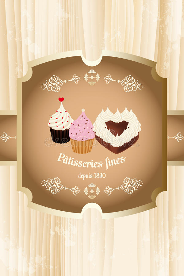Sweets and pastries. Label of Sweets and pastries with retro styled pastries and calligraphic French text - eps 10 vectors royalty free illustration