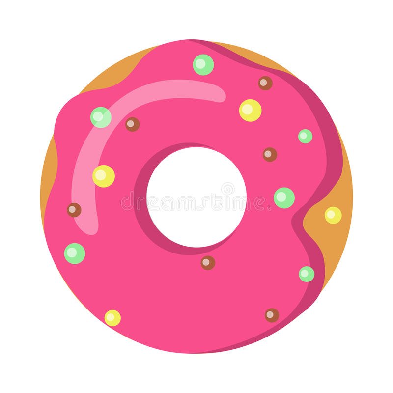 Sweets. Picture of Doughnut with Pink Sprinkles. Doughnut with pink sprinkles on white. Simple cartoon design. Colourful small balls. Huge tasty donut with big stock illustration