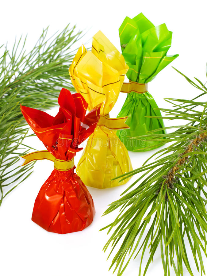 Download Sweets and pine branches stock photo. Image of colored - 18643140
