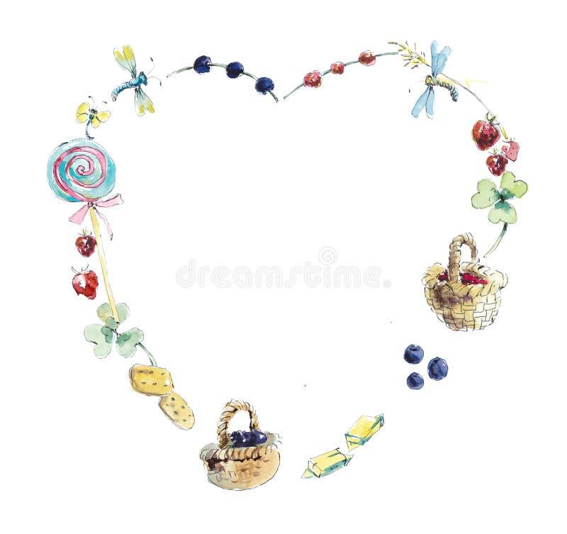sweets ramowy Akwareli r?ka rysuj?ca ilustracja royalty ilustracja