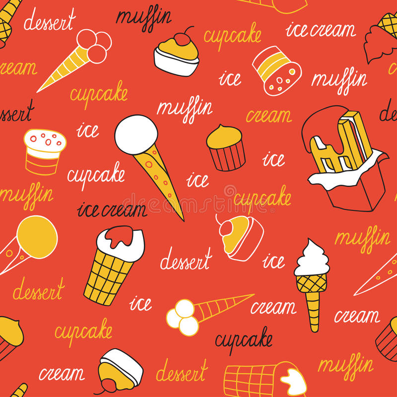 Sweets on a red background. Seamless pattern of ice cream and cupcakes hand-drawn vector illustration
