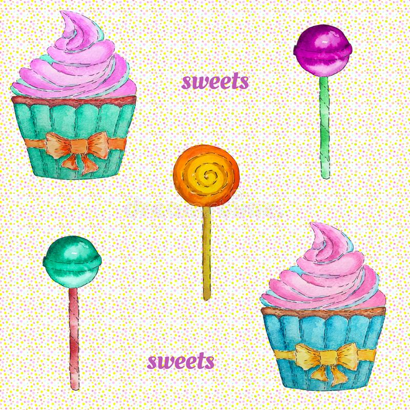 Sweets seamless pattern with cupcake, lollipop and chupa chups. Colorful watercolor pattern vector illustration