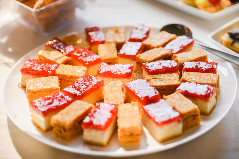 Sweets served on the table on birthday party royalty free stock photography