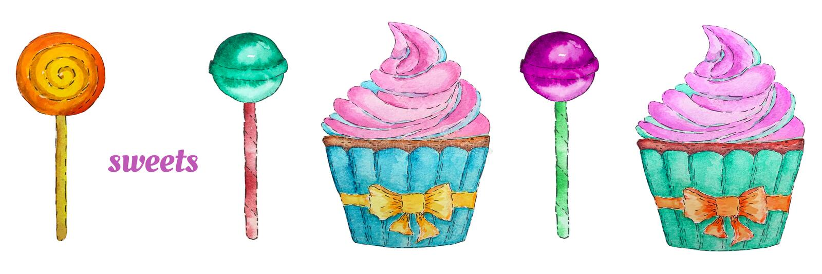 Sweets set with cupcake, lollipop and chupa chups. Colorful watercolor elements stock illustration