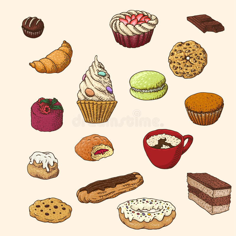 Sweets. Set of the hand-drawn sweets vector illustration