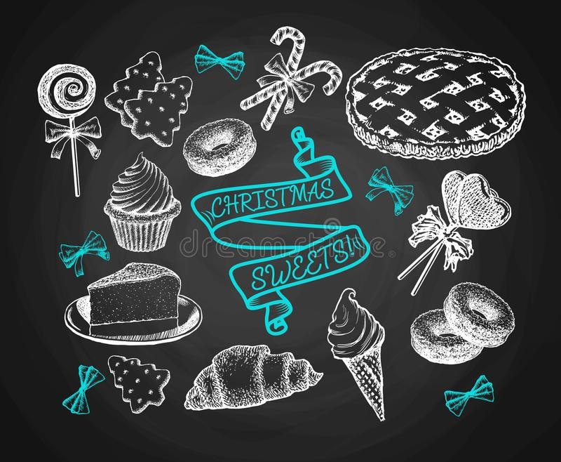 Sweets Set Sketch On Chalkboard Background. Holiday Cakes, Pies, Biscuits, Ice Cream And Cookies Vintage Vector royalty free illustration