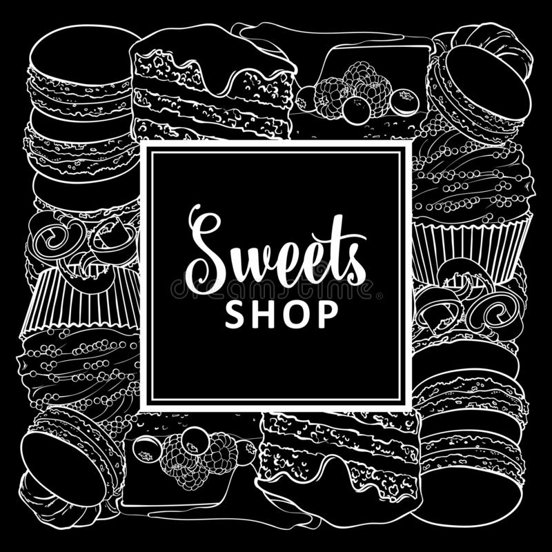 Sweets shop square banner with baked desserts in line sketch style. Sweets shop square banner with baked desserts in line sketch style - vector illustration of stock illustration