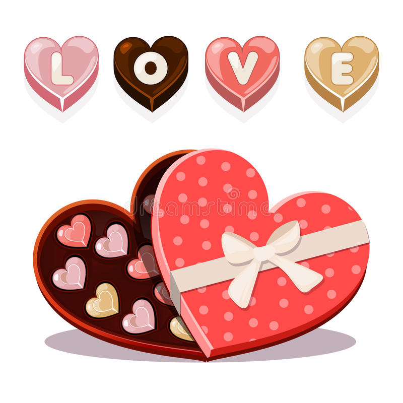 Sweets for Valentine s Day in heart shaped royalty free illustration