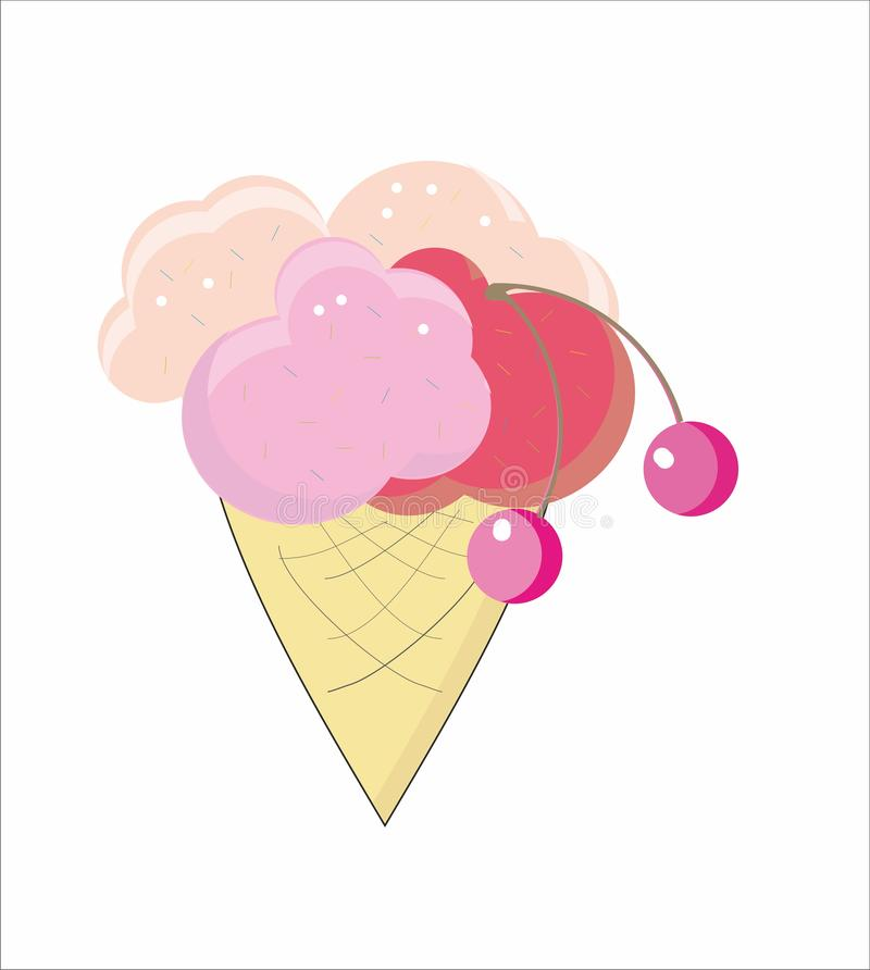 Ice cream cone with cherry royalty free illustration