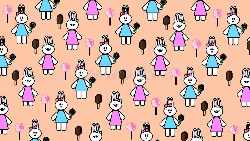 Sweety cor-de-rosa do coelho do fundo dos papéis de parede foto de stock royalty free
