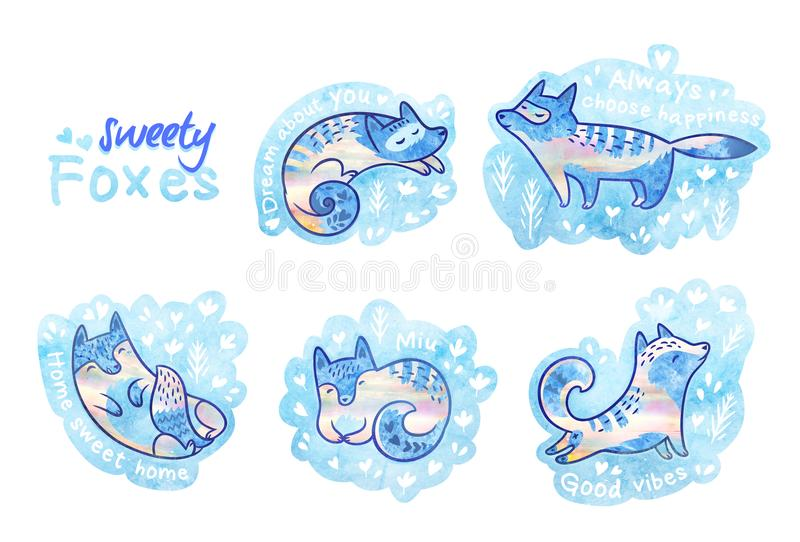 Sweety foxes in floral. Beautiful patches or pins collection. Set of cute cartoon cats or foxes stickers. Ideal for pins, patches and brosh royalty free illustration
