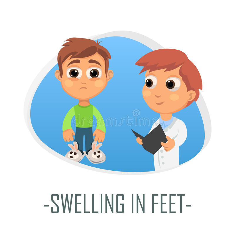 Swelling in feet medical concept. Vector illustration. vector illustration