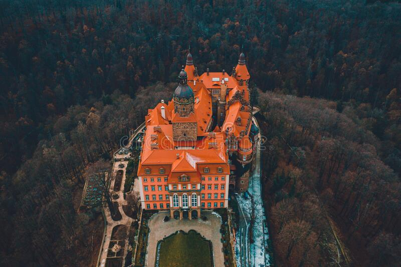 Swidnica, Poland - January 29 2020: Majestic ksiaz castle in Poland during autumn cold top view. 2021 royalty free stock photos
