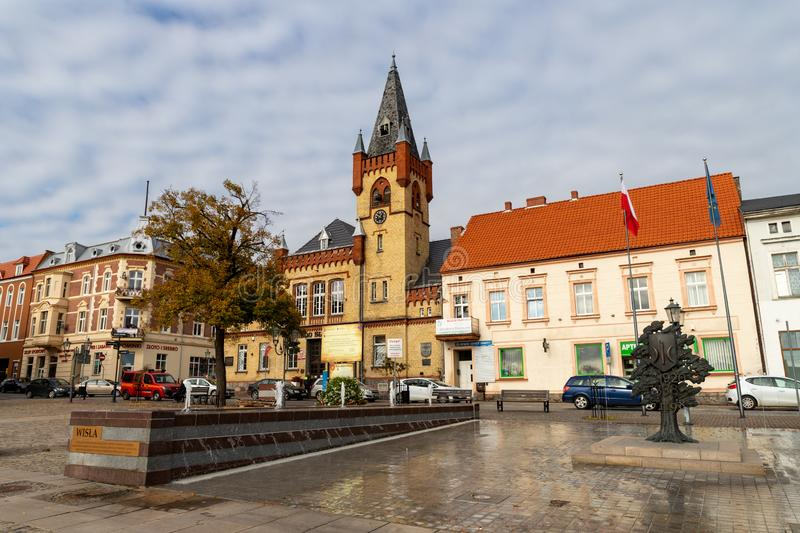 Swiecie, kujawsko pomorskie / Poland - October, 17, 2019: Old market in a small town in Central Europe. Old tenements in the city royalty free stock images
