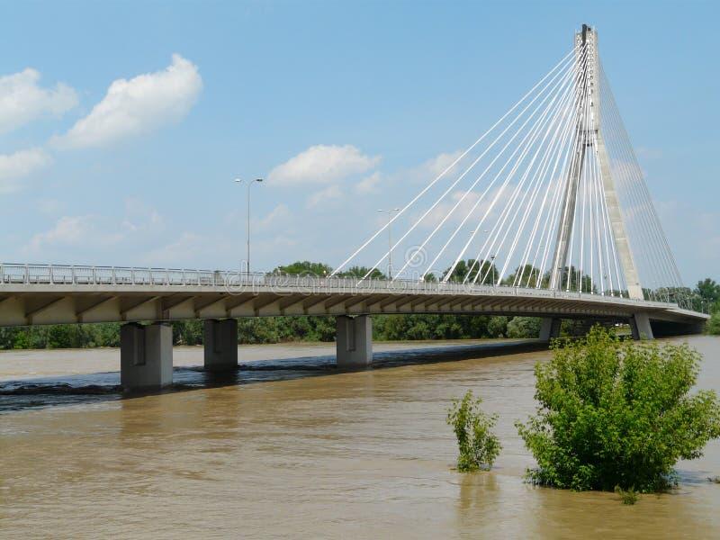 Swietokrzyski most na Vistula rzece w Warszawa, Polska fotografia royalty free