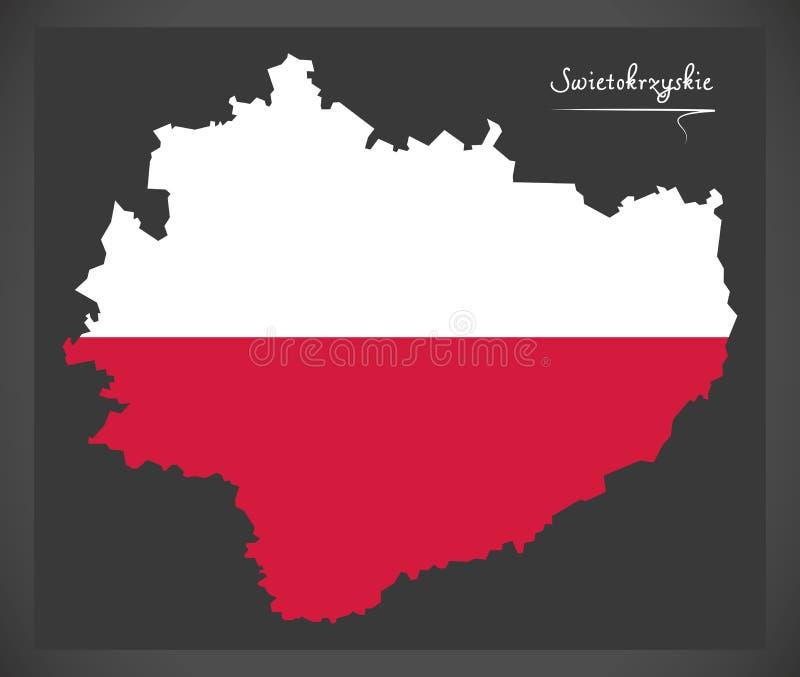 Swietokrzyskie map of Poland with Polish national flag illustration. Swietokrzyskie map of Poland with Polish national flag stock illustration