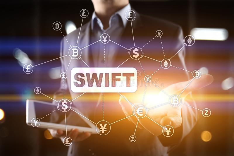 SWIFT, κοινωνία για τις παγκόσμιες διατραπεζικές οικονομικές τηλεπικοινωνίες, σε απευθείας σύνδεση πληρωμή και έννοια δημοσιονομι στοκ φωτογραφίες με δικαίωμα ελεύθερης χρήσης
