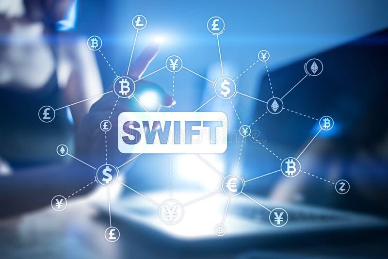 SWIFT, de Maatschappij voor Financiële Telecommunicaties Tussen banken Wereldwijd, online betaling en financiële regelgeving conc royalty-vrije illustratie