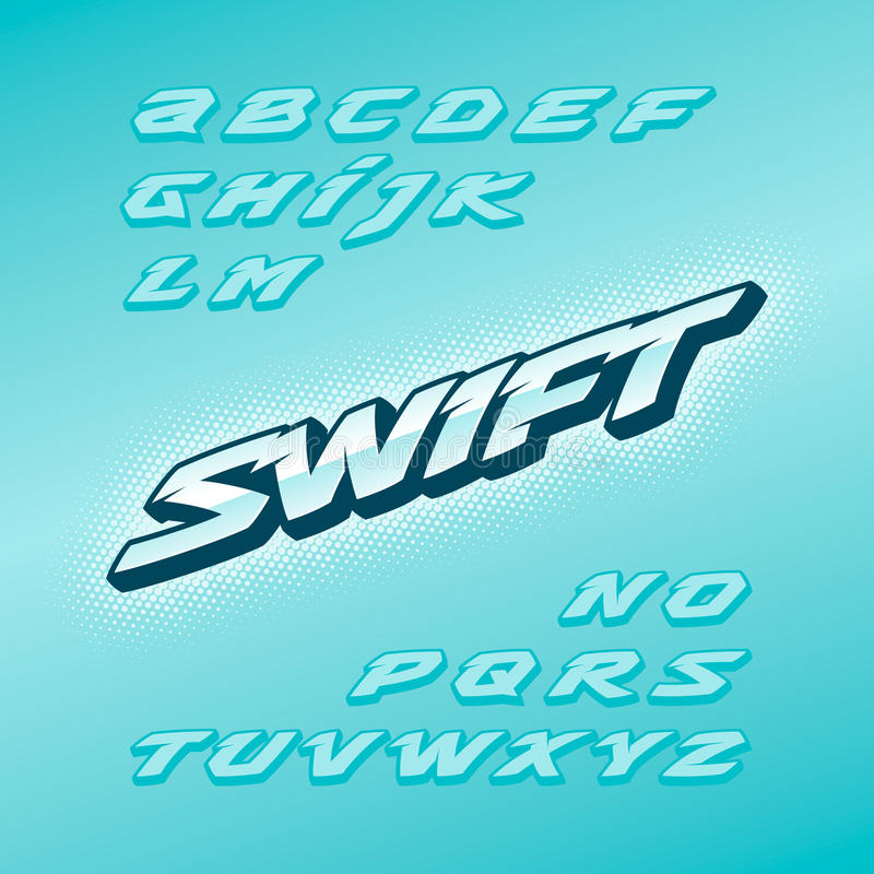 Swift fast strong futuristic alphabet lettering. Vector font. Latin letters. stock photo